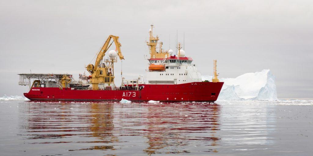 HMS Protector at sea