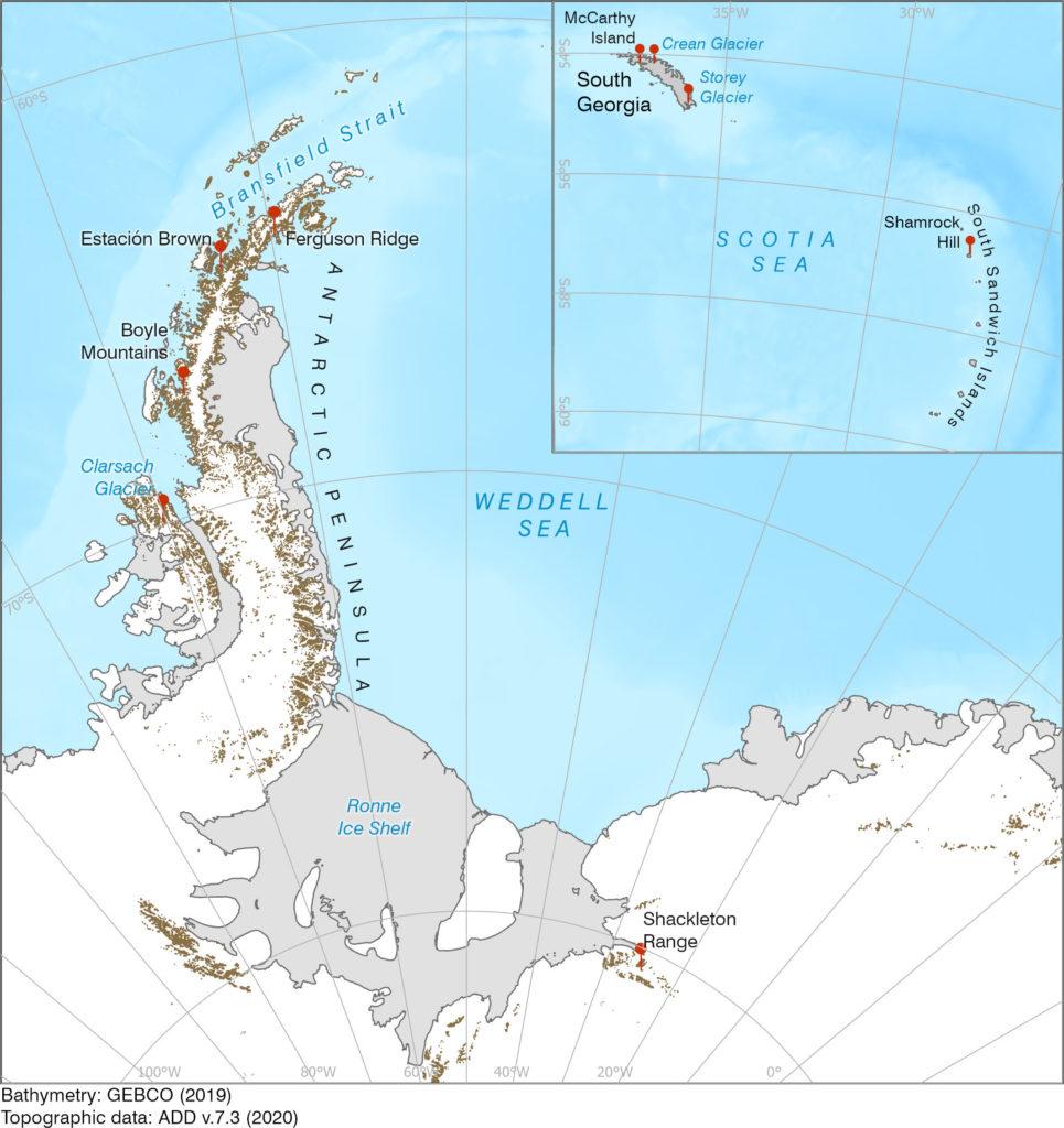Antarctic place names map